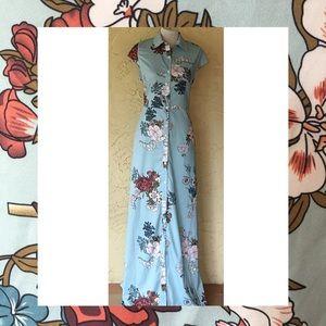 Misslook Pastel blue Asian floral maxi dress